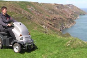 Tramper on the east of Lundy Island