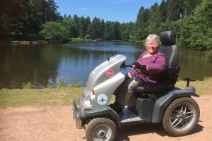 Access Mallard's Pike lake by hiring the all-terrain Tramper scooter