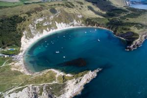Lulworth Cove in Dorset.